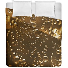 Festive Bubbles Sparkling Wine Champagne Golden Water Drops Duvet Cover Double Side (California King Size)
