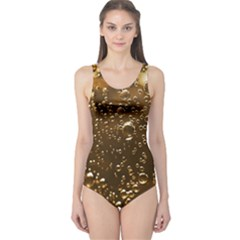 Festive Bubbles Sparkling Wine Champagne Golden Water Drops One Piece Swimsuit