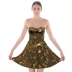 Festive Bubbles Sparkling Wine Champagne Golden Water Drops Strapless Bra Top Dress