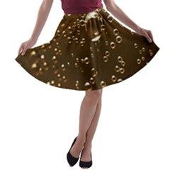 Festive Bubbles Sparkling Wine Champagne Golden Water Drops A Line Skater Skirt