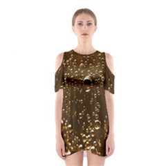 Festive Bubbles Sparkling Wine Champagne Golden Water Drops Shoulder Cutout One Piece