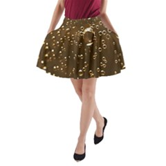 Festive Bubbles Sparkling Wine Champagne Golden Water Drops A Line Pocket Skirt