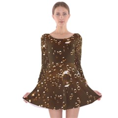 Festive Bubbles Sparkling Wine Champagne Golden Water Drops Long Sleeve Velvet Skater Dress