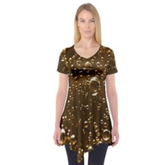 Festive Bubbles Sparkling Wine Champagne Golden Water Drops Short Sleeve Tunic