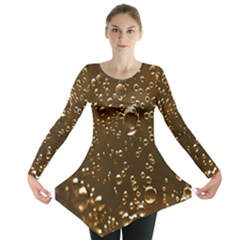 Festive Bubbles Sparkling Wine Champagne Golden Water Drops Long Sleeve Tunic
