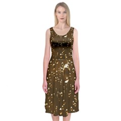 Festive Bubbles Sparkling Wine Champagne Golden Water Drops Midi Sleeveless Dress