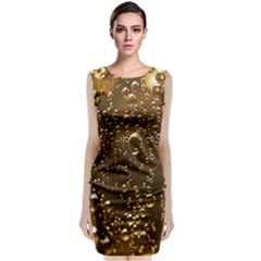 Festive Bubbles Sparkling Wine Champagne Golden Water Drops Classic Sleeveless Midi Dress