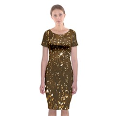 Festive Bubbles Sparkling Wine Champagne Golden Water Drops Classic Short Sleeve Midi Dress