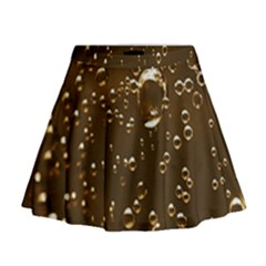 Festive Bubbles Sparkling Wine Champagne Golden Water Drops Mini Flare Skirt