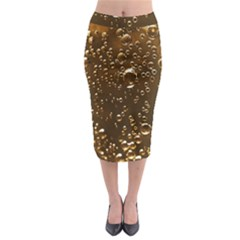 Festive Bubbles Sparkling Wine Champagne Golden Water Drops Midi Pencil Skirt