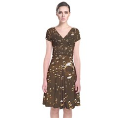 Festive Bubbles Sparkling Wine Champagne Golden Water Drops Short Sleeve Front Wrap Dress