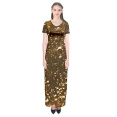 Festive Bubbles Sparkling Wine Champagne Golden Water Drops Short Sleeve Maxi Dress