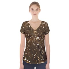 Festive Bubbles Sparkling Wine Champagne Golden Water Drops Short Sleeve Front Detail Top