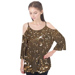 Festive Bubbles Sparkling Wine Champagne Golden Water Drops Flutter Tees
