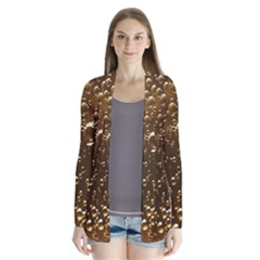 Festive Bubbles Sparkling Wine Champagne Golden Water Drops Drape Collar Cardigan