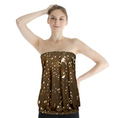 Festive Bubbles Sparkling Wine Champagne Golden Water Drops Strapless Top