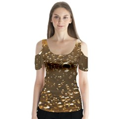 Festive Bubbles Sparkling Wine Champagne Golden Water Drops Butterfly Sleeve Cutout Tee