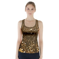 Festive Bubbles Sparkling Wine Champagne Golden Water Drops Racer Back Sports Top