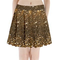 Festive Bubbles Sparkling Wine Champagne Golden Water Drops Pleated Mini Skirt