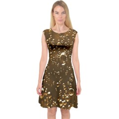 Festive Bubbles Sparkling Wine Champagne Golden Water Drops Capsleeve Midi Dress