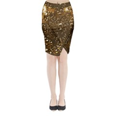 Festive Bubbles Sparkling Wine Champagne Golden Water Drops Midi Wrap Pencil Skirt