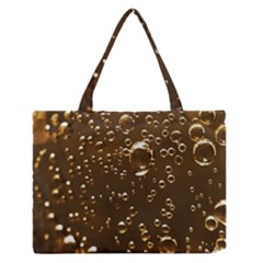 Festive Bubbles Sparkling Wine Champagne Golden Water Drops Medium Zipper Tote Bag