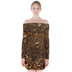 Festive Bubbles Sparkling Wine Champagne Golden Water Drops Long Sleeve Off Shoulder Dress
