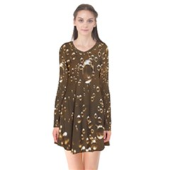 Festive Bubbles Sparkling Wine Champagne Golden Water Drops Flare Dress