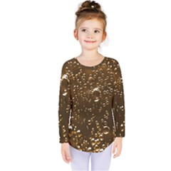 Festive Bubbles Sparkling Wine Champagne Golden Water Drops Kids  Long Sleeve Tee