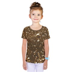 Festive Bubbles Sparkling Wine Champagne Golden Water Drops Kids  One Piece Tee