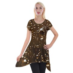 Festive Bubbles Sparkling Wine Champagne Golden Water Drops Short Sleeve Side Drop Tunic