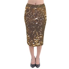 Festive Bubbles Sparkling Wine Champagne Golden Water Drops Velvet Midi Pencil Skirt