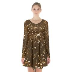 Festive Bubbles Sparkling Wine Champagne Golden Water Drops Long Sleeve Velvet V Neck Dress