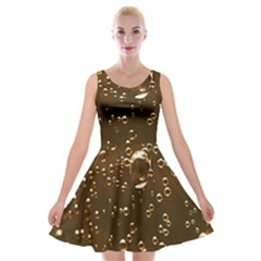 Festive Bubbles Sparkling Wine Champagne Golden Water Drops Velvet Skater Dress