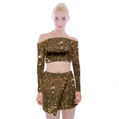 Festive Bubbles Sparkling Wine Champagne Golden Water Drops Off Shoulder Top With Skirt Set