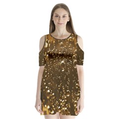 Festive Bubbles Sparkling Wine Champagne Golden Water Drops Shoulder Cutout Velvet  One Piece
