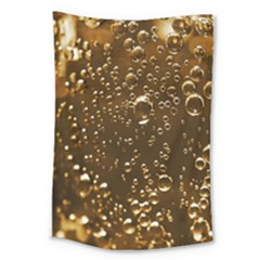 Festive Bubbles Sparkling Wine Champagne Golden Water Drops Large Tapestry