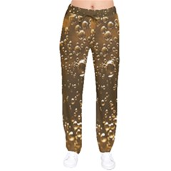 Festive Bubbles Sparkling Wine Champagne Golden Water Drops Drawstring Pants