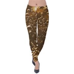 Festive Bubbles Sparkling Wine Champagne Golden Water Drops Velvet Leggings