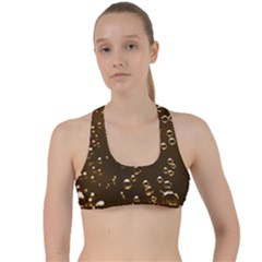 Festive Bubbles Sparkling Wine Champagne Golden Water Drops Criss Cross Racerback Sports Bra