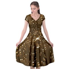 Festive Bubbles Sparkling Wine Champagne Golden Water Drops Cap Sleeve Wrap Front Dress