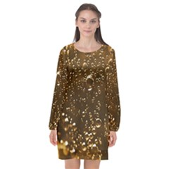 Festive Bubbles Sparkling Wine Champagne Golden Water Drops Long Sleeve Chiffon Shift Dress