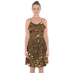 Festive Bubbles Sparkling Wine Champagne Golden Water Drops Ruffle Detail Chiffon Dress