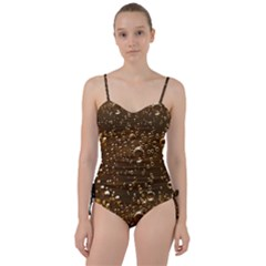 Festive Bubbles Sparkling Wine Champagne Golden Water Drops Sweetheart Tankini Set