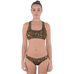 Festive Bubbles Sparkling Wine Champagne Golden Water Drops Cross Back Hipster Bikini Set