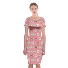 Cute Eggs Pattern Classic Short Sleeve Midi Dress