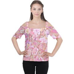 Lovely Floral 36a Cutout Shoulder Tee