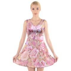 Lovely Floral 36a V-Neck Sleeveless Skater Dress