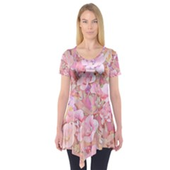 Lovely Floral 36a Short Sleeve Tunic