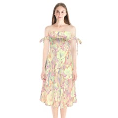 Lovely Floral 36b Shoulder Tie Bardot Midi Dress